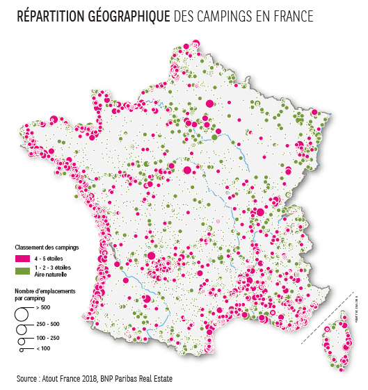 Repartition geographique des campings en France